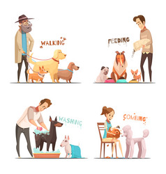 Dog concept icons set vector