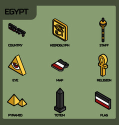 egypt color outline isometric icons vector image