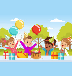 Excited children in birthday hat at table with vector