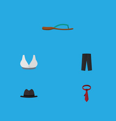 Flat icon garment set of beach sandal panama vector