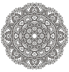 Flower mandala with hand drawn floral henna vector