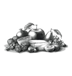 fruits vintage engraving style black and white vector image