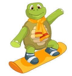 Funny Turtle Snowboarding vector