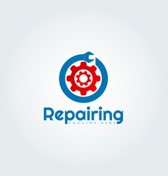 Gear and wrench logo design vector