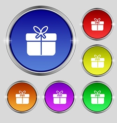Gift box icon sign Round symbol on bright vector
