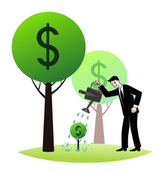 Growing money trees vector