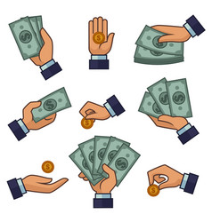 Hand and money banknotes and golden coins dollars vector