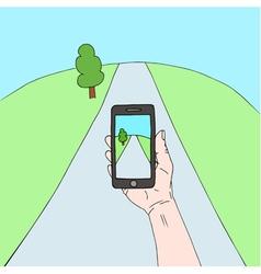 hand phone vector image