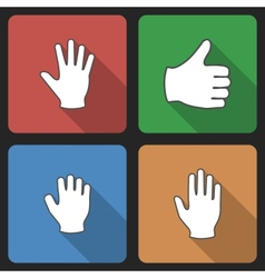 Hand set icons with long shadow vector