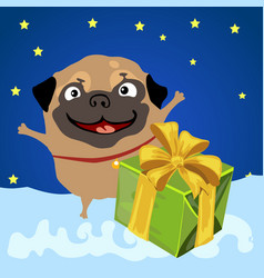 happy dog with gift box on background night sky vector image