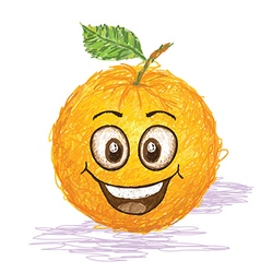 happy orange fruit vector image