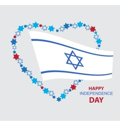 heart made of david stars with Israel flag vector image