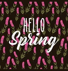 Hello spring decorative flower hyacinth stem black vector