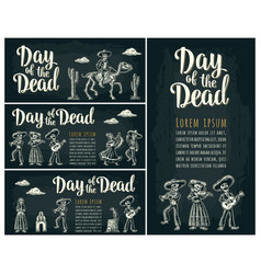 horizontal poster for dia de los muertos day of vector image