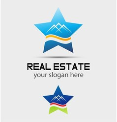 House real estate and star logo vector