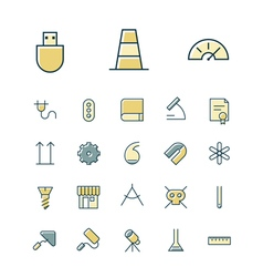Icons thin blue science industrial vector