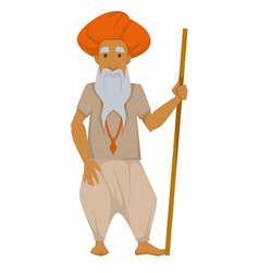 indian elderly man with wooden stick in turban vector image