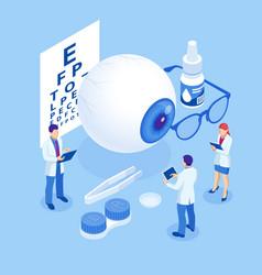 Isometric medical ophthalmologist eyesight check vector