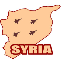 Jet bomber shadows onsyria map vector