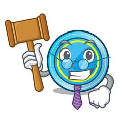 Judge frisbee next a wooden cartoon table vector