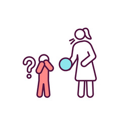 Kid avoid contact with adult rgb color icon vector