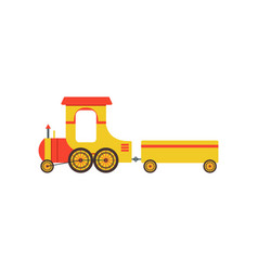 kids cartoon yellow toy cargo train railroad toy vector image