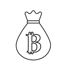 Line bag with bitcoin currency digital symbol vector