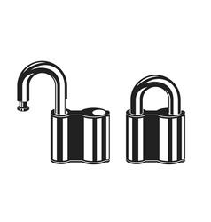 Locked and unlocked padlock icons vector
