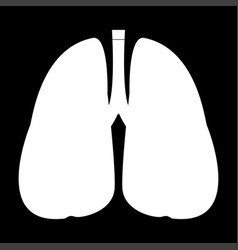 Lungs the white color icon vector
