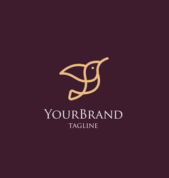 luxury mono line bird logo template vector image