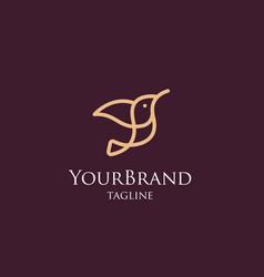 luxury mono line bird logo template vector image