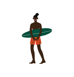 male surfer standing on beach with surfboard vector image