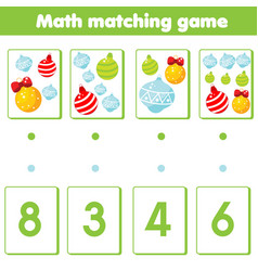 mathematics educational game for children match vector image