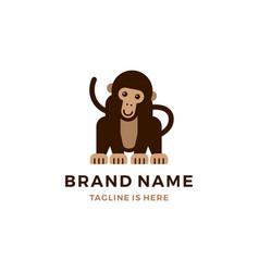 Monkey chimp chimpanzee logo cartoon icon flat vector