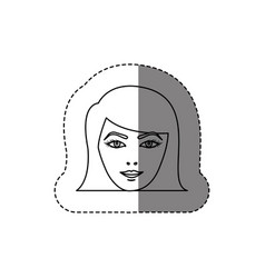 Monochrome contour sticker with head of woman with vector