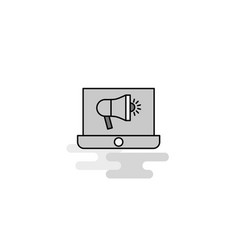 music on laptop web icon flat line filled gray vector image