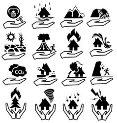natural disaster insurianes icon set vector image
