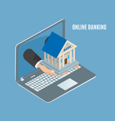 Online banking poster laptop vector