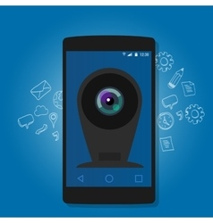 Online mobile phone camera webcam security vector