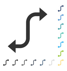Opposite bend arrow icon vector