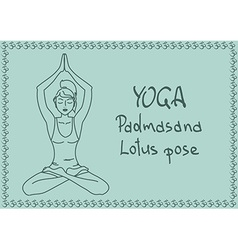 Outline girl in Lotus yoga pose vector image