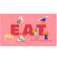 People eat chinese food concept tiny male and vector