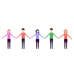 people holding hands vector image