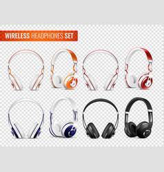 Realistic wireless earphones set vector