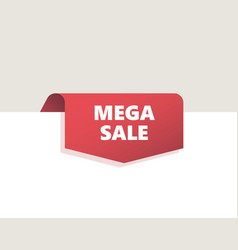 red top tag ribbon with shadow vector image