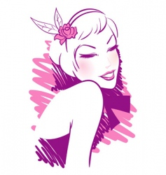 retro women pink vector image