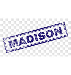 Scratched madison rectangle stamp vector