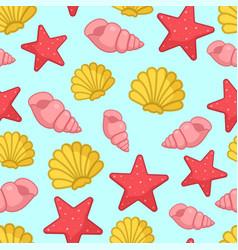 seamless pattern with aquatic nautical shellfish vector image