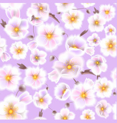 seamless soft pattern with anemones small flowers vector image