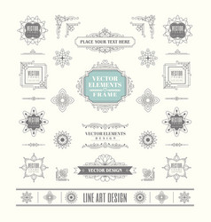 set linear thin line art deco retro vintage vector image